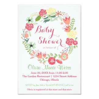 Rosa Blumenkreis-Kranz - Babyparty 3x5 laden ein 8,9 X 12,7 Cm Einladungskarte