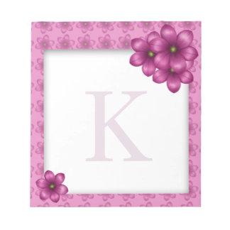 Rosa Blumenmonogramm Notizblock