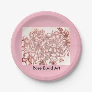 """rosa Blumenpapier-Teller 7"""" Pappteller"""