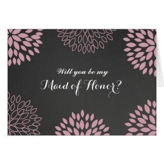 Rosa Blumentafel ist meine Trauzeugin-Karte Karte