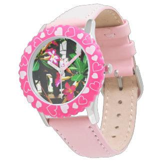 Rosa Blumenuhr Uhr