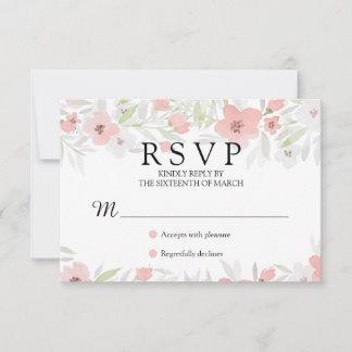 Pink Floral Watercolor Wedding RSVP Card