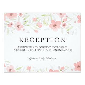 Pink Floral Watercolor Wedding Reception Card