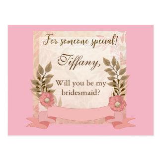 Rosa Blumenwille sind Sie meine Brautjungfer Postkarte
