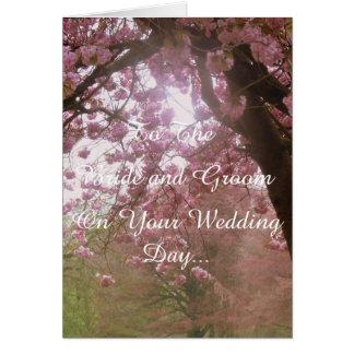 Rosa Blüten-Hochzeitstag Karte