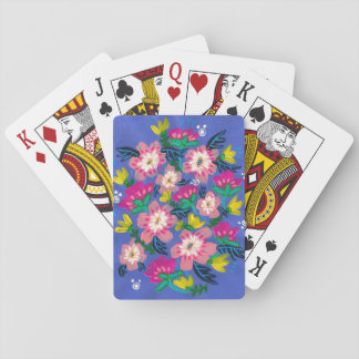 Rosa Blüten-Spielkarten Spielkarten