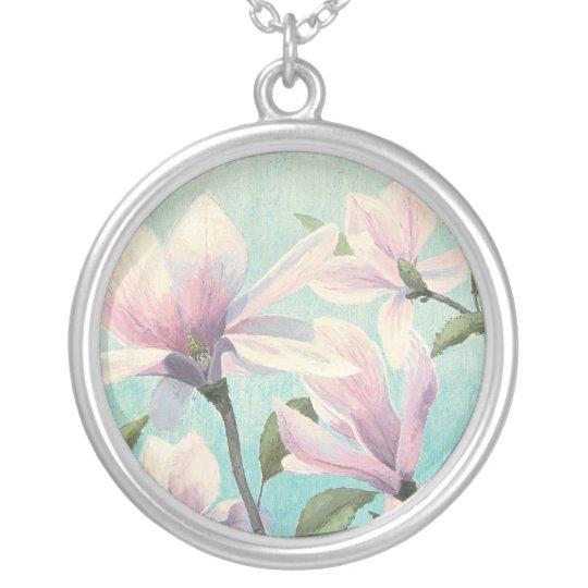 Rosa Blüten vom Süden Halskette Mit Rundem Anhänger