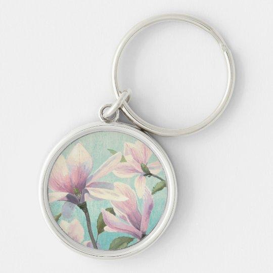 Rosa Blüten vom Süden Silberfarbener Runder Schlüsselanhänger