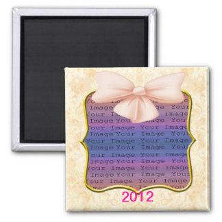 Rosa Bogen-Hochzeits-Magnet Quadratischer Magnet