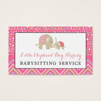 Rosa Boho Elefant, Babysitting, TagesKinderzimmer Visitenkarte