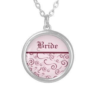 Rosa Braut-Wirbels-Halskette Versilberte Kette