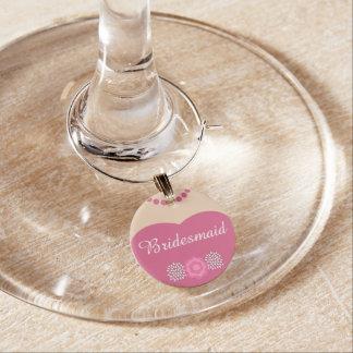 Rosa Brautjungfern-Hochzeit Glasmarker