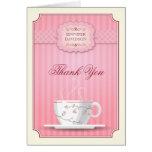 Rosa Brautparty-Tee-Party danken Ihnen Grußkarte