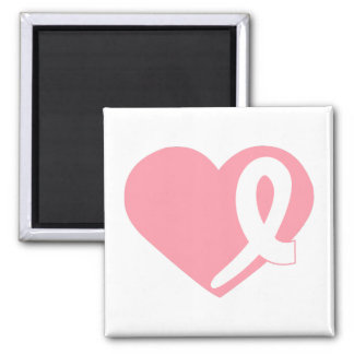 Rosa Brustkrebs-Herzband-Quadratmagnet Quadratischer Magnet
