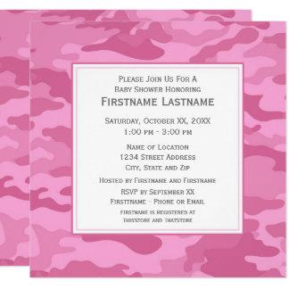 Rosa Camouflage-Baby-Dusche oder Party Quadratische 13,3 Cm Einladungskarte