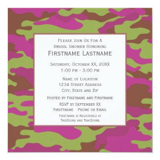 Rosa Camouflage-Brautparty oder Verlobungs-Party Quadratische 13,3 Cm Einladungskarte