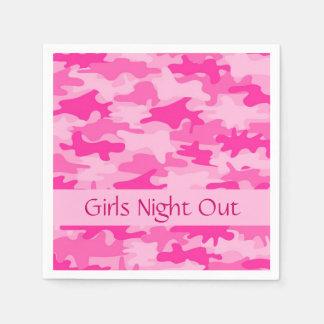 Rosa Camouflage-Tarnungs-Mädchen-Nachtheraus Party Servietten
