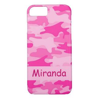 Rosa Camouflage-Tarnungs-Name personalisiert iPhone 7 Hülle