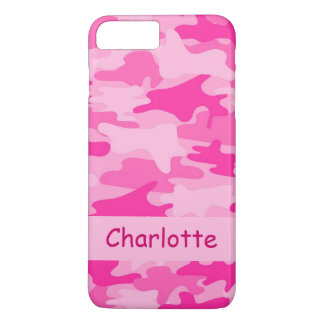 Rosa Camouflage-Tarnungs-Name personalisiert iPhone 8 Plus/7 Plus Hülle