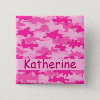 Rosa Camouflage-Tarnungs-Name personalisiert Quadratischer Button 5,1 Cm
