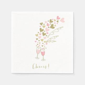 Rosa Champagne jubelt Verlobungs-Hochzeits-Party Serviette