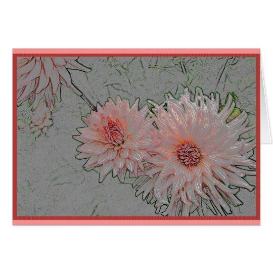 Rosa Chrysanthemen Grußkarte