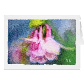 Rosa Columbine-/Blumen-/Aquarell-Blick Karte