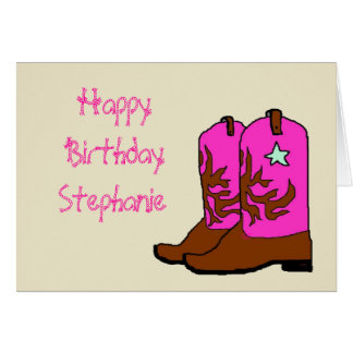 Rosa Cowgirl-Geburtstagskarten Karte