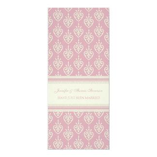 Rosa Creme-gerade verheiratete Mitteilungs-Karten 10,2 X 23,5 Cm Einladungskarte