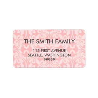 Rosa Damast-Adressen-Etiketten Adress Aufkleber