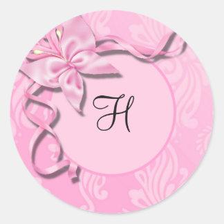 Rosa Damast-Band-Schmetterlings-Hochzeits-Siegel Runde Sticker