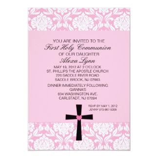 Rosa Damast-Herz-Kommunions-Einladung Karte