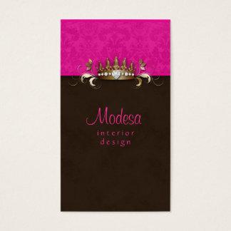 Rosa Damast-Innenarchitektur-Krone Visitenkarten
