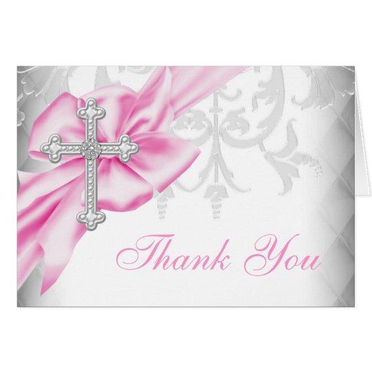 Rosa Damast-Kreuz danken Ihnen Karte