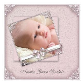 Rosa Damast-Mädchen-Foto-Geburts-Mitteilung Quadratische 13,3 Cm Einladungskarte