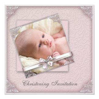 Rosa Damast-Mädchen-Foto-Taufe Quadratische 13,3 Cm Einladungskarte