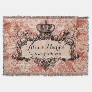 Rosa Damast-personalisierte Hochzeits-königlicher Decke