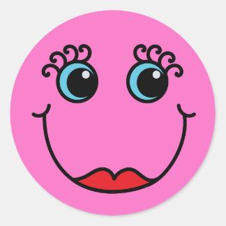 Rosa Dame Smiley Runder Aufkleber