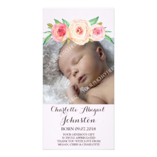 Rosa danken Ihnen erröten Babyparty Karte
