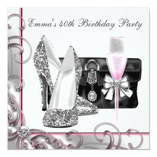 Rosa der Geburtstags-Party der Frau Individuelle Ankündigung