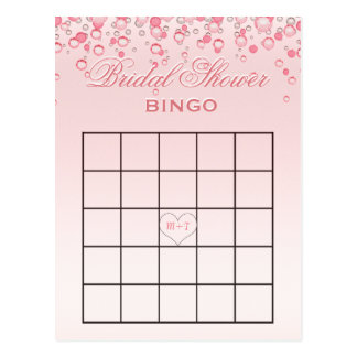 Rosa des Brautparty-Bingo-  erröten Postkarte
