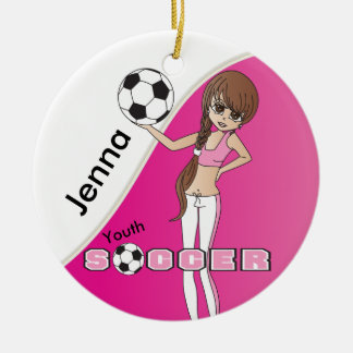 Rosa des Jugend-Fußball-niedliches Mädchen-| Keramik Ornament