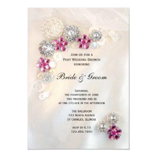Rosa Diamant perlt Knopf-Posten-Hochzeits-Brunch Karte