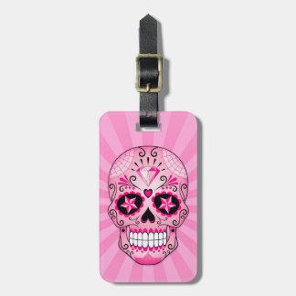 Rosa Diamant-Zuckerschädel Gepäckanhänger