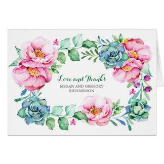 rosa die elegante Blumen und Succulents danken Karte