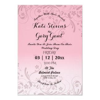 Rosa einfache Blumenmuster Hochzeits-Einladung 12,7 X 17,8 Cm Einladungskarte