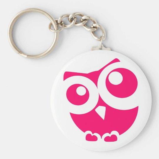 Rosa einfache Eule Standard Runder Schlüsselanhänger