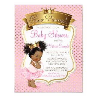 Rosa Einladungen Goldprinzessin-Babyparty