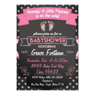 Rosa Einladungen Prinzessin-Babyparty