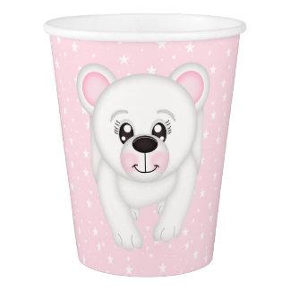 Rosa Eisbär-Papierschale Pappbecher